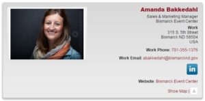 An example of a directory listing featuring Ambassador Team co-lead Amanda Bakkedahl.