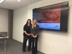 Donnell Roehrich and Jill Beilke present to the Marketing Team during a lunch and learn.